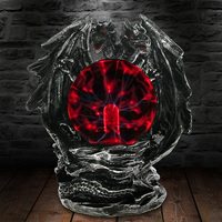 1Piece Saurian Gazing Dragon Power Tesla Figurine Ornament Gothic Sculpted Dragon Statue With Glowing Electric Glass Plasma Ball