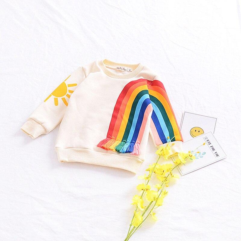 Girls Boys Girls Fashion Cotton Top Spring Baby Unique Design Rainbow Tassel Jumper Children Kids Outerwear Clothes