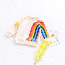 Girls Boys Girls Fashion Cotton Top Spring  Baby Unique Design Rainbow Tassel Jumper Children Kids Outerwear Clothes