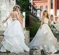 2017 Vetidos de Novia 2 Two Piece Wedding Dress Backless Beading Tiers Organza Cutout Wedding Gowns Beach Bridal Dresses