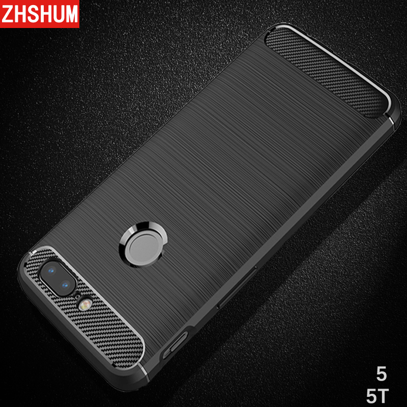 ZHSHUM Carbon Fiber Pattern Case for OnePlus 5T 5 Soft Silicone Tpu 360 Protective Case Full Back Cover for One Plus 5 T Coque