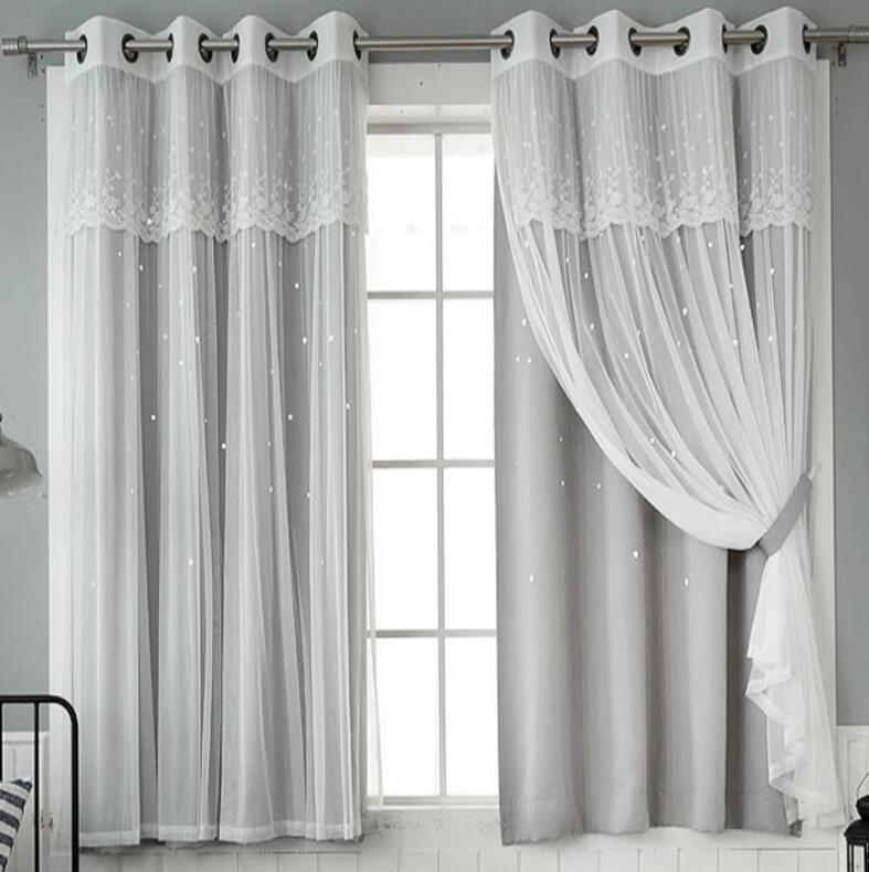 Tulle With Cloth Curtains For Living Room Bedroom Blackout Windows Drapes Of Pastoral Lace Embroidered Tulle Curtain Cortinas