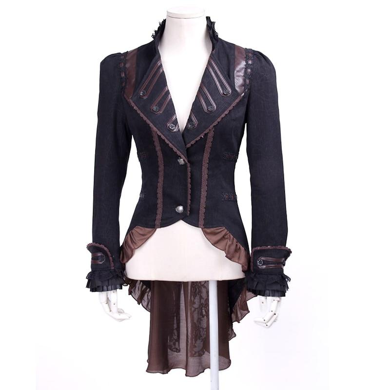 Punk Gothic Ladies Palace Vintage Dovetail Jackets Steampunk Autumn Winter Swallowtail Jacket Slim Fit V-Neck Long Ruffle Coats