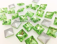 Free shipping Light green Square shape pointback loose rhinestones,nail airt Mobile decoration DIY Clothing accessories SWZP016