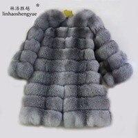 Linhaoshengyue Silver and blue fox fur coat Real fox fur women long coat