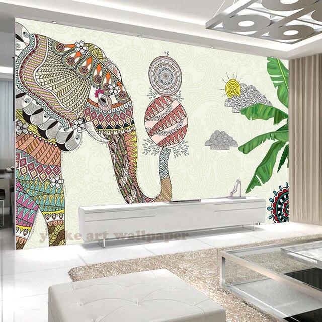 US $10.95 45% OFF|Cartoon Elefant 3D tapete foto wandmalereien 3d  stereoskopischen tapeten für kinderzimmer schlafzimmer wände TV hintergrund  wand ...