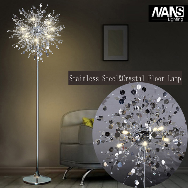 Fashion Modern Crystal Floor Lamp Living Room Lights Bedroom Lamps French Stand Stainless Steel