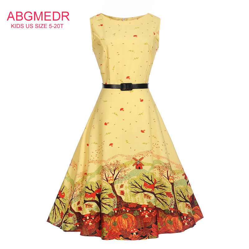 5-20 Yrs Teens Girls Yellow Forest Printed Clothing Baby Girls Dresses for Wedding and Party Wear Clothes Teenager Dress Vestido