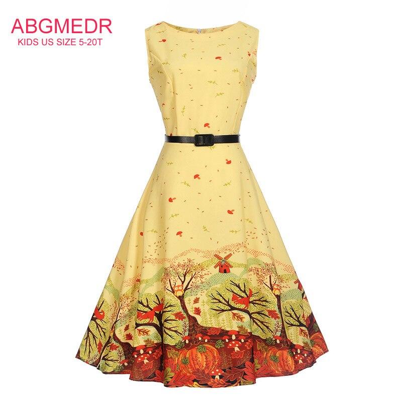 5-20 Yrs Teens Kız Sarı Orman Baskılı Giyim Bebek Kız Düğün ve Parti için Elbiseler Giymek Giysi Genç elbise Vestido