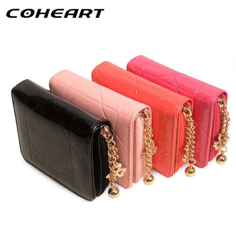 COHEART Fashion Women Wallet Soft Leather 4 colours Quality Female Wallet Small card Patent Leather Money Bag Women's Purse