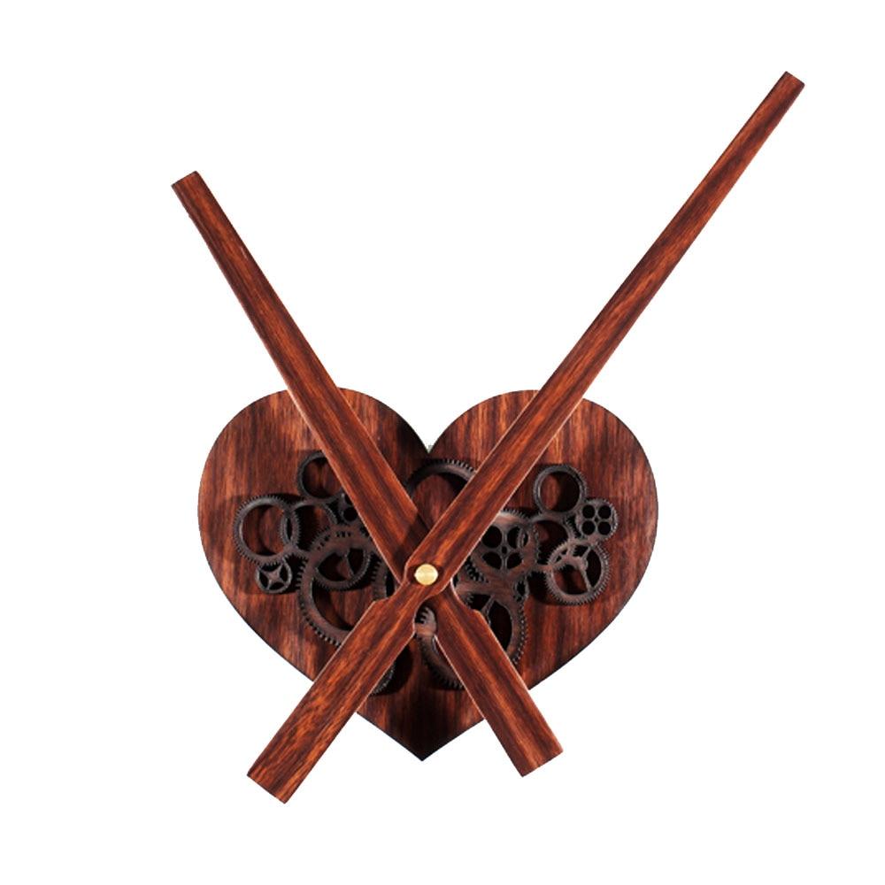 Wood 3D Wall Clock Heart shaped Gear Watch Modern Design ...