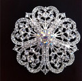 Sparkly Silver Plated Clear Rhinestone Crystal Flower Bridal Brooch Bouquet and Wedding Cake Pins