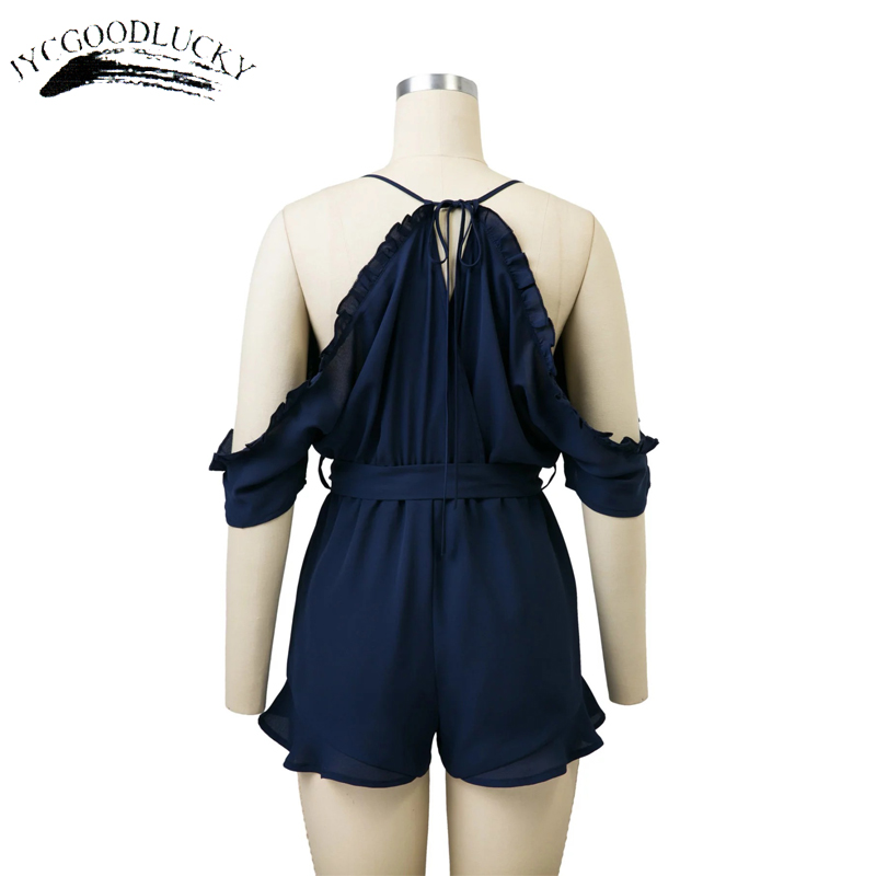 2a2e5e9e1af Embroidery Jumpsuit Shorts Women 2017 Summer Off Shoulder Overalls Rompers  Spaghetti Straps Jumpsuits Plus Size Women Clothing-in Rompers from Women s  ...
