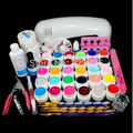 Pedicure Manicure Set Uv Gel Nail Kit Pro Full 9w Uv Lamp 30 Color Pure Gel 5 Sable Acrylic Brush Nail Art Kit Set