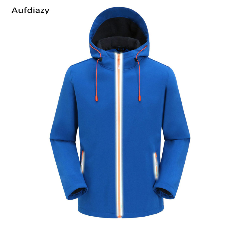 Aufdiazy Men  Softshell Jacket Outdoor Catching Fleece Jacket Hiking Jacket Fishing Sport Windproof Warm Top Solid color IM091(China)