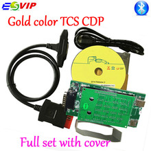 Free Shipping Gold color 2014 R2 / 2015 R3 With Keygen tcs cdp pro for cars / trucks diagnostic tool gold cdp plus bluetooth