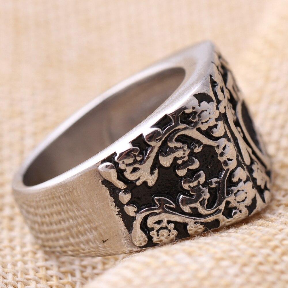 Stainless Steel 2 Color Geometric Tribal Design Biker Ring
