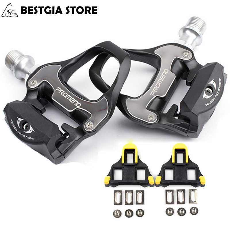 New Design Cr-Mo Axle Self-locking Road Bicycle Pedals with Cleats CNC Aluminum Alloy Body 6 Bearing Pedals BMX bike Parts Black whc 04 cnc bike bicycle 6061t6 aluminum alloy headset washer black 4pcs