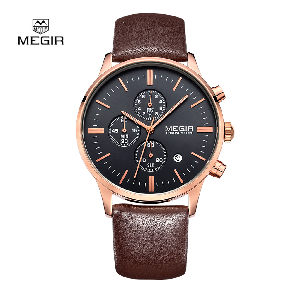 2018 Fashion Luxury Men Watch Megir Quartz Watches Casual Sport Wristwatch Chronograph Waterproof Relogio Masculino 2011 megir b
