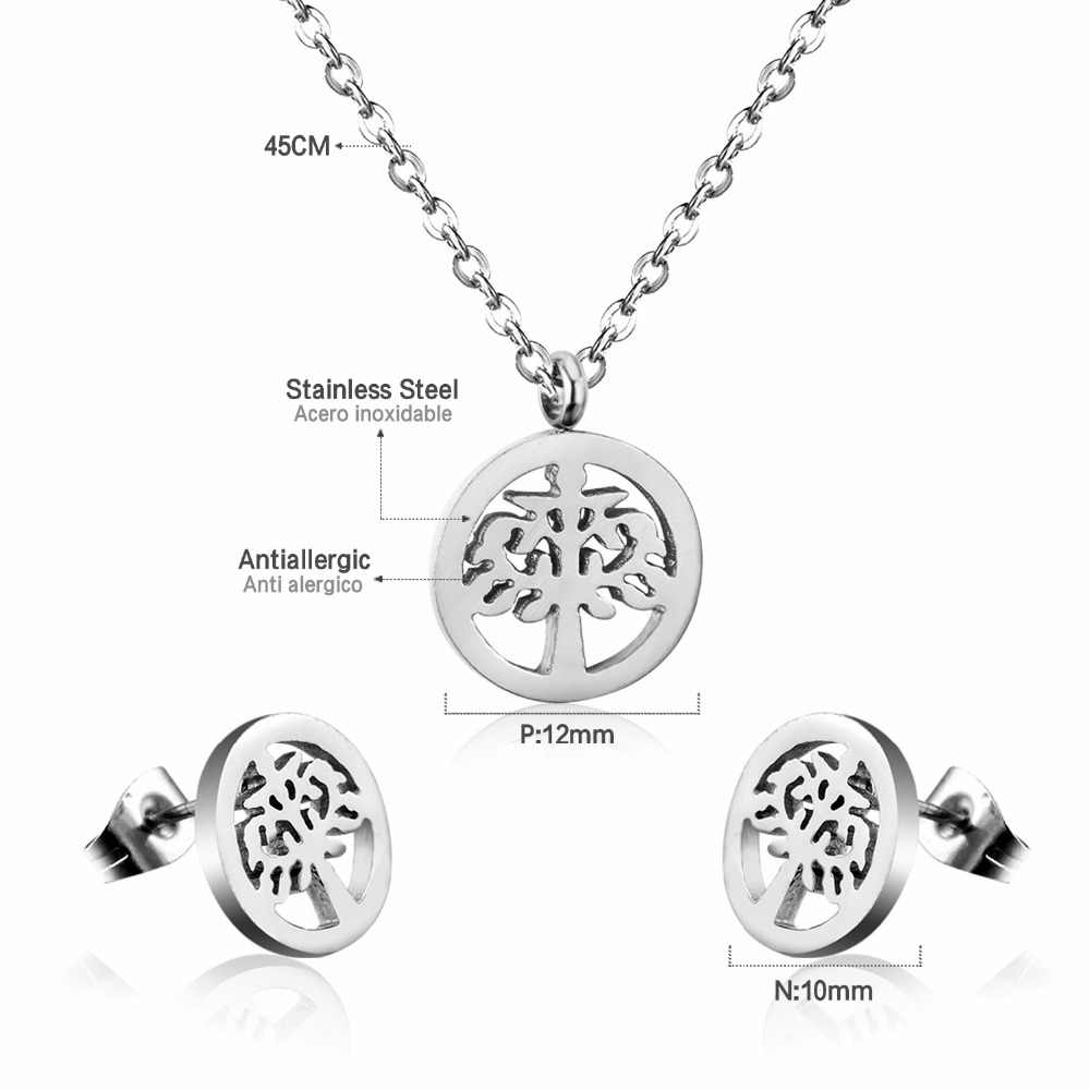 LUXUKISSKIDS עץ תליוני שרשרת עגילי חתונה קובע לנשים זהב/כסף תכשיטים מגדיר תכשיטים