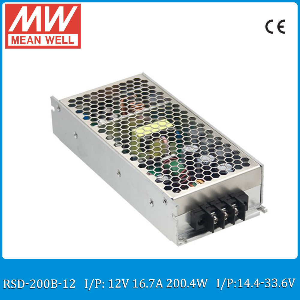 Original MEAN WELL RSD-200B-12 200W 16.7A 12V railway dc dc converter Input 14.4~33.6VDC meanwell dc dc isolated converter 12V