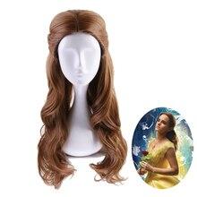 Güzellik ve Beast prenses Belle peruk Cosplay kostüm kadınlar için uzun dalgalı sentetik saç cadılar bayramı partisi rol oynamak peruk
