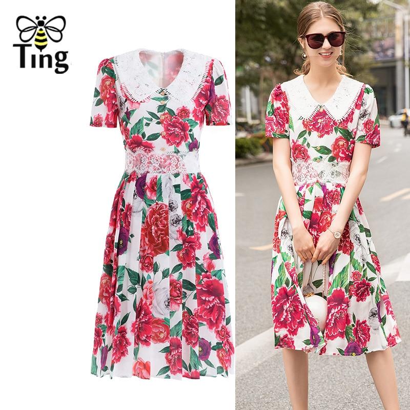 Tingfly piste Designer femmes été Kee longueur robe Rose Floral imprimé Vintage élégant fête robes de nuit avec bouton de cristal