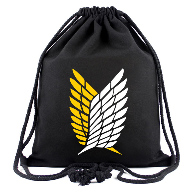 Attack On Titans Drawstring Bag Anime Cartoon Canvas Backpack Travel Young Organizer Pouch Backpacks
