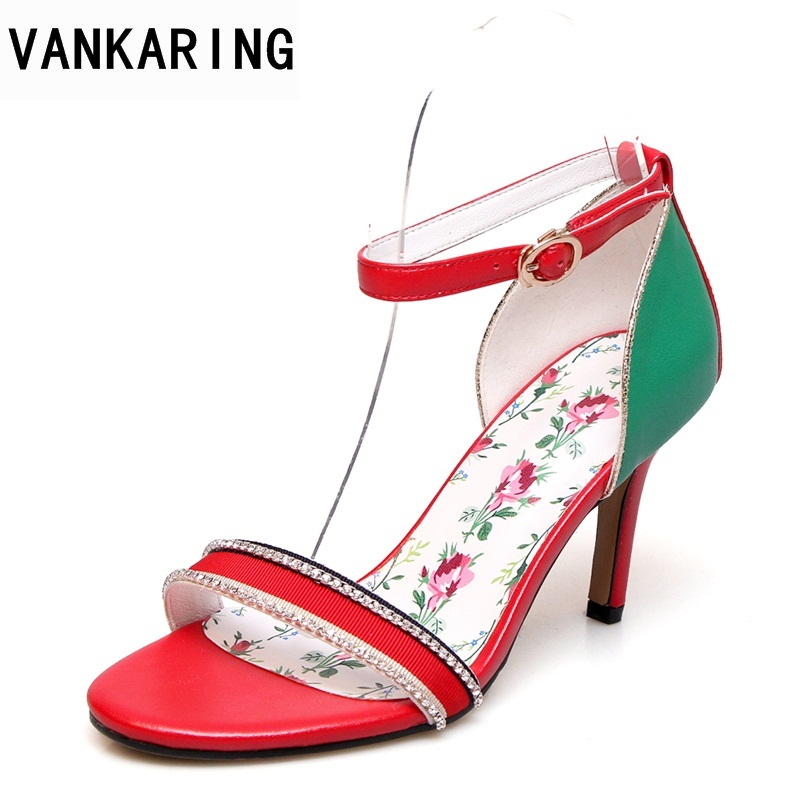 VANKARING summer super high heels 2018 new open toe patchwork sexy high heels women sandals fashion ladies red party dress shoes vankaring new sandals shoes women cruare strange style low heel open toe summer woman black dress party casual sandals slipper