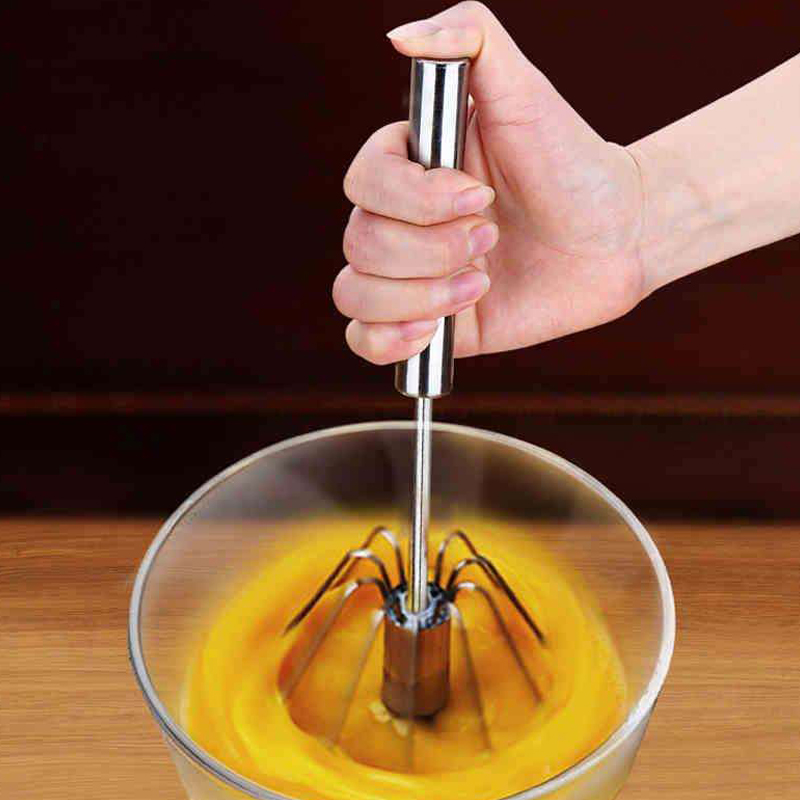 Stainless Steel Hand Pressure Rotating Semi-Automatic Mixer Coffee Milk Mixing Eggbeater Handheld Mixer Kitchen Cooking Tools