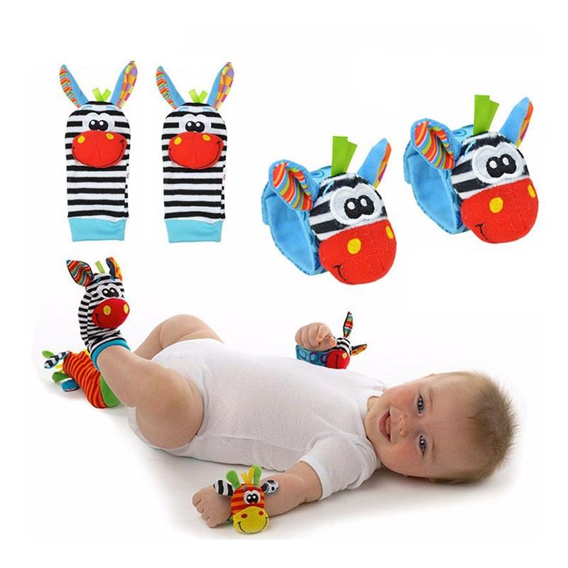 8bf1600b91c 5PCS LOT Cartoon Zebra Baby Socks Hand Wrist Bells Plush Hand Shake Bell  Christmas Cotton Boy Girl Infant Rattles Sock Toys Tags