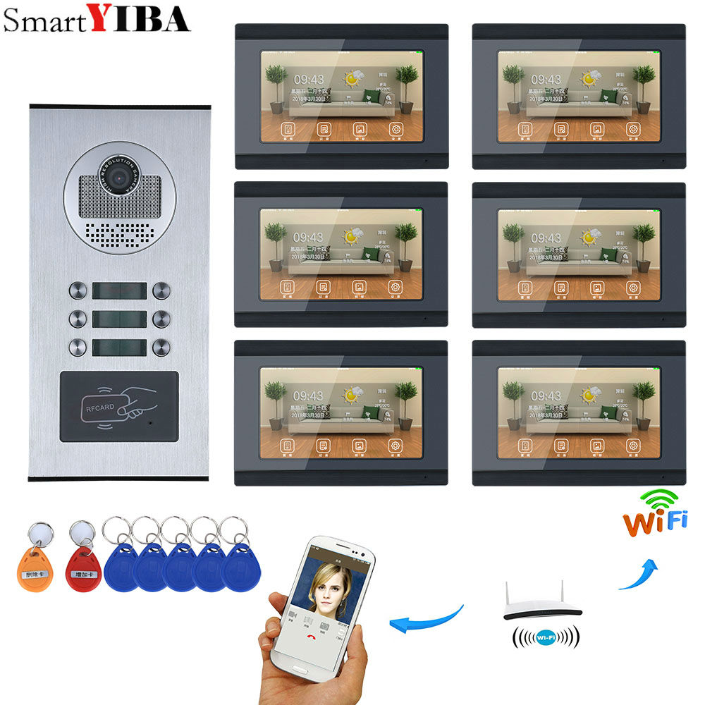 SmartYIBA 7inch Record Wired Wifi 6 Apartment/Family Video Door Phone Intercom System For 6 Units Villa Apartment Waterproof