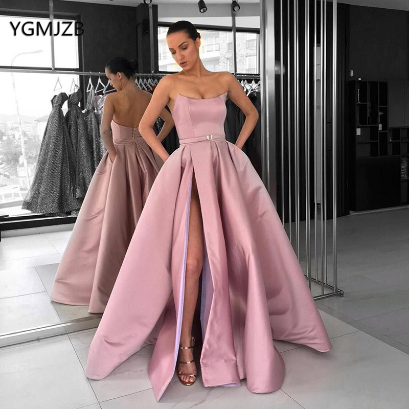 Blush Pink   Prom     Dresses   with Pockets High Split Strapless Satin Elegant Burgundy Arabic Women Long Formal Evening Party Gowns