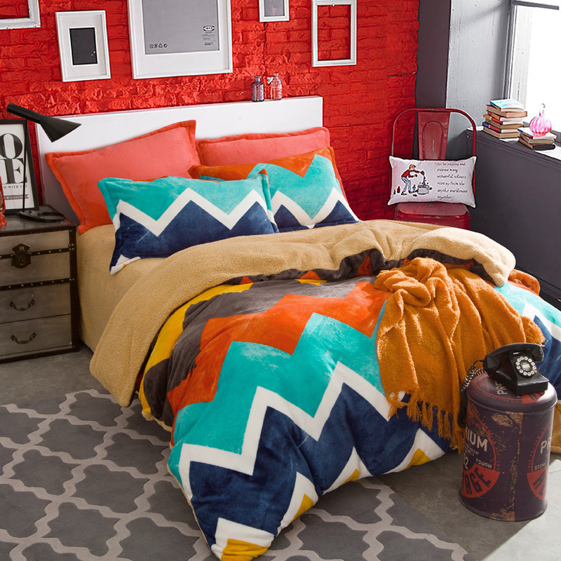 Grid Stripe Bedding Set Fleece Flannel Duvet Cover Warm Bed Sheet 4 Pcs Pillowcases Bedroom Textile