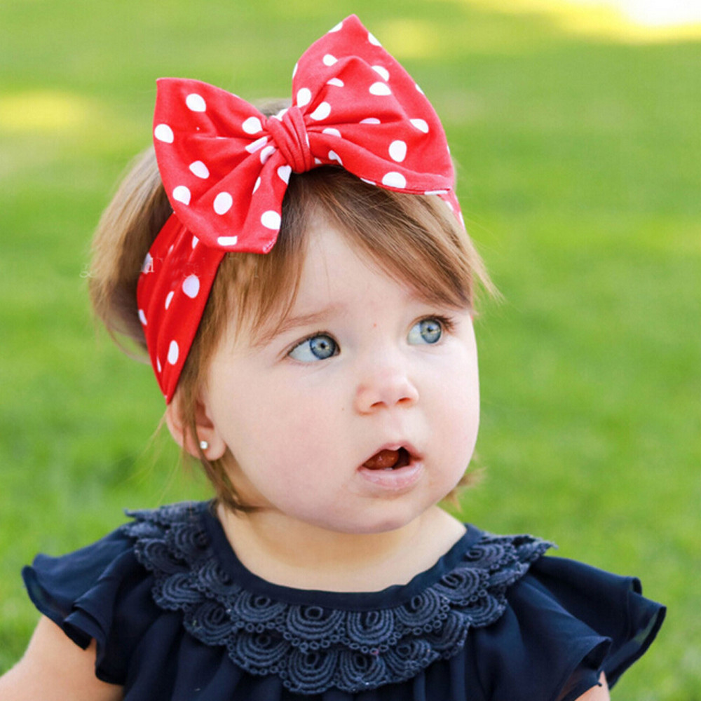 Casual baby girl fleur forme bandeau Infants élastique Jean Chiffon Dot Hairband