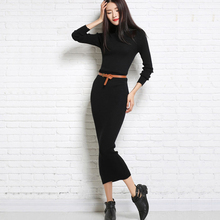 Sweater Dress Knitted Woman Cashmere Sweaters Dresses Warm Winter Long Sleeve Sexy Slim Female Pullovers Turtleneck Maxi Elegant