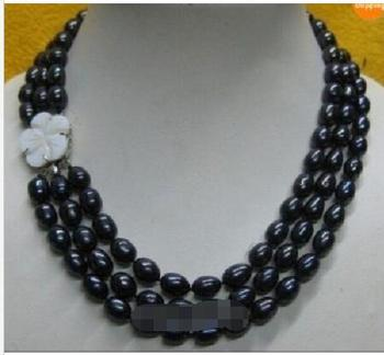 "beautiful 3 rows 10-12 mm south Black natural Pearl Necklace 17""-19"""