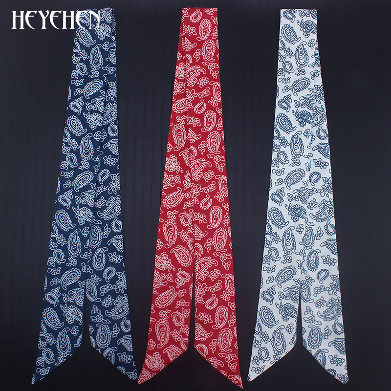 Cashew Print Hip HOP Women Fashion European Style Skinny Small Bag Twill Silk Scarf Ribbon Head Hair Handle Tie Scarf
