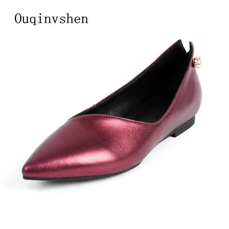 ФОТО Crystal Shallow Ballerines Femme Chaussures 2017 New Pattern Summer Pointed Toe Slip-On Casual Women Genuine Leather Shoes