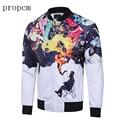 2017 New Fashion Mens Jackets White Black Print Bomber Jacket Coats Tactical Men Plus Size Long Sleeve Streetwear Autumn Man