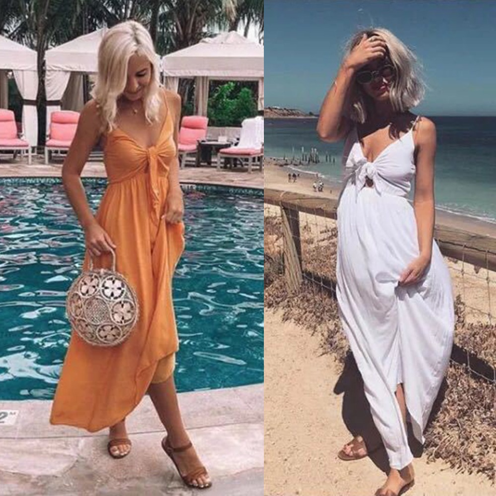 Sexy Style Women Long V Neck Dress Summer Ladies Beach Vest White Orange Dress Sleeveless Collect High waist Maxi Dress s-xl