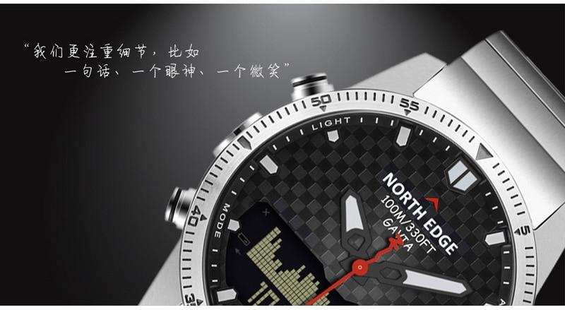 NORTH EDGE Men Sport Watch Altimeter Barometer Compass Thermometer Pedometer Calorie Depth Gauge Digital Watch Running Climbing 16