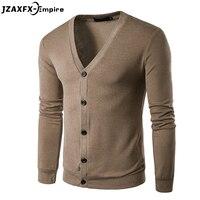 Новое поступление Мужской Повседневный Кардиган с v-образным вырезом мужской Однотонный свитер брендовая одежда Высокое качество Мужские ...