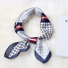 New Women Silk Scarf Small Luxury Soft Squares Decorative Multi-functional Head Ladies Scarves Tie 70*70 cm