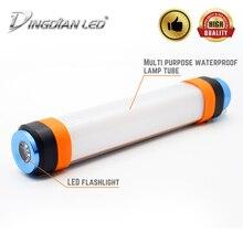 купить DINGDIAN USB Rechargeable Flashlight Waterproof Torch Light Powerbank Portable Lanterns Hiking Emergency Camping SOS Flash Light дешево