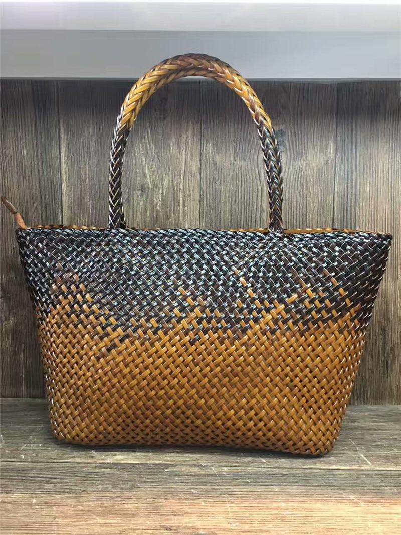 2017  handmade rattan weaving genuine leather bags women leather weave handbag casual female totes bag handmade rattan weaving craft top handle genuine leather bags women