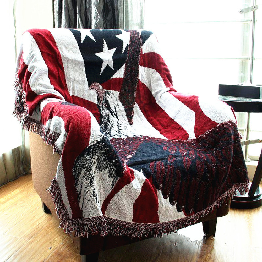 American flag eagle Vintage blanket double sided cotton knitting wall tapestry sofa towel bed cover felts carpet farmhouse decor