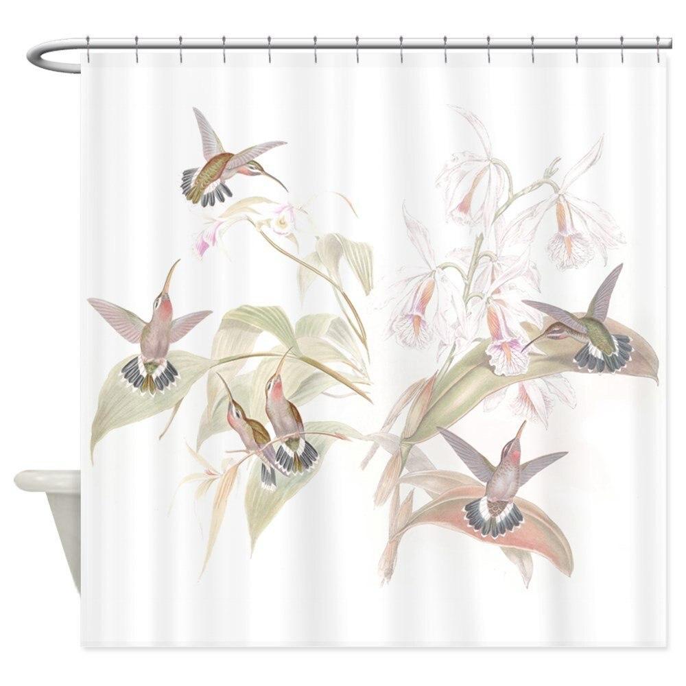 Hummingbirds &Amp; Orchids Decorative Fabric Shower Curtain