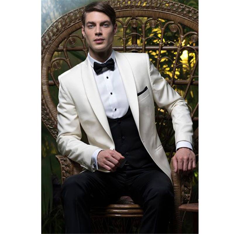 Custom Made Ivory font b Men b font Wedding font b Suits b font Slim Fit