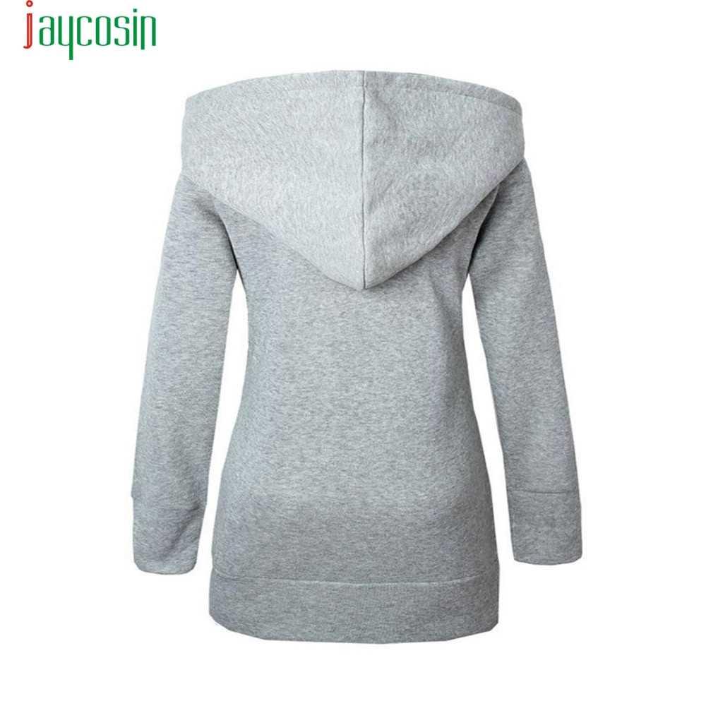 JAYCOSIN ジャケットの女性の生き抜くコート暖かいウールルーズフード付きジッパー冬長袖ベルベット肥厚オーバー 09
